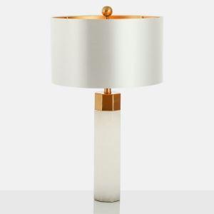 Tischleuchte aus Eisen Säule Design mit Stoff Schirm 1 flammig