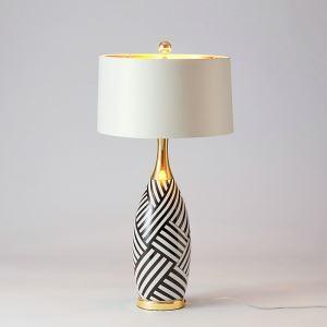 Tischleuchte aus Keramik Vase Design mit Stoff Schirm 1 flammig