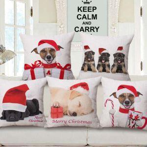 Weihnachten Kissenbezüge Hunde Motiv aus Baumwolle und Leinen