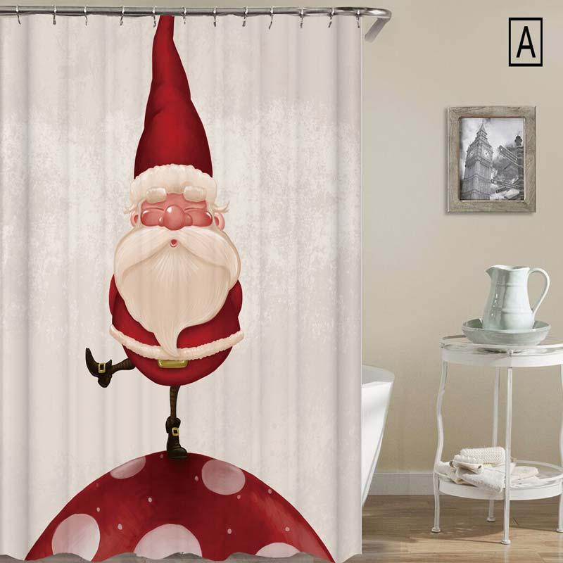 Kreativer Duschvorhang Weihnachten Motiv Weihnachtsmann