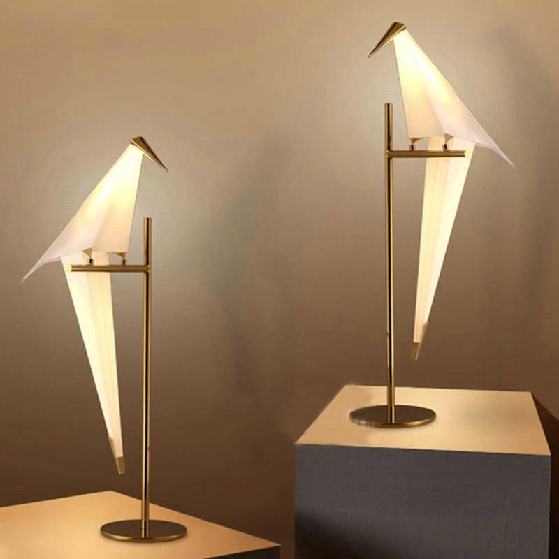 led tischleuchte modern vogel design in wei. Black Bedroom Furniture Sets. Home Design Ideas
