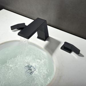 Wasserhahn Waschbecken Zweigriff Wasserfall in Schwarz