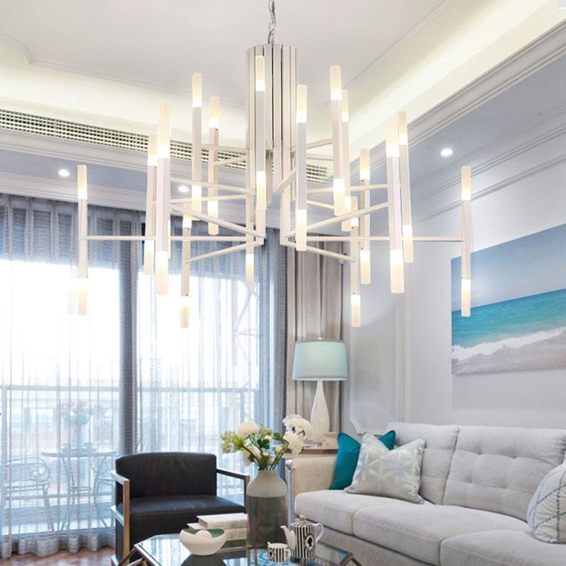 Led Pendelleuchte Modern Säule Design für Wohnzimmer