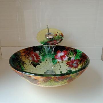 Bunte Glas Waschbecken Mit Wasserfall Wasserhahn Und Montage Ring