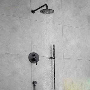 Duscharmatur Unterputz mit Kopfbrause in Schwarz
