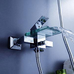 (EU Lager) Wasserfall Badewannenarmatur Modern Wasserhahn mit Glas Auslauf (Wandmontage)