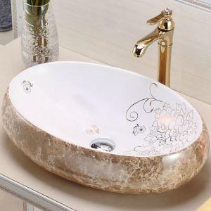 Keramik Waschbecken Modern Aufsatzwaaschbecken Marmor Design Oval 48cm (ohne Wasserhahn)