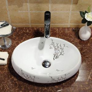 Waschbecken Weiß Keramik Aufsatzwaschbecken Oval 48cm im Badezimmer (ohne Wasserhahn)