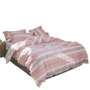 Bettwäscheset Rosa Streifen Design aus Baumwolle 4-teilig Landhausstil