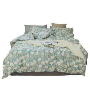 Landhausstil Bettwäscheset Blumen Muster aus Baumwolle  4-teilig