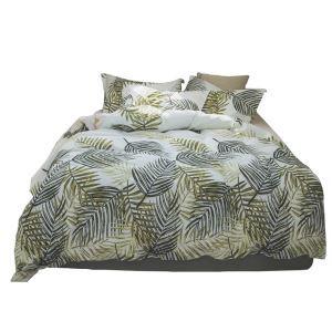 Landhausstil Bettwäscheset Palmenblätter Motiv aus Baumwolle  4-teilig