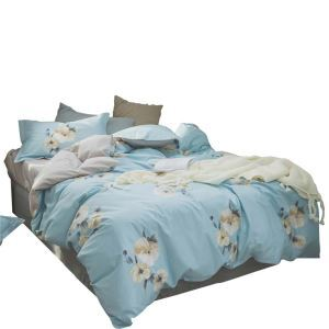 Bettwäscheset Blumen Motiv aus Baumwolle  4-teilig Landhausstil