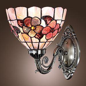 (EU Lager)Antike Wandleuchte im Tiffany Stil - Floral gemustert
