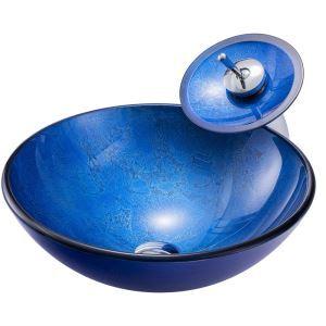 Glas Waschbecken Set Rund in Blau mit Wasserhahn
