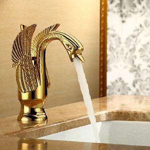 (EU Lager)Waschtischarmatur Badezimmer Vogelform Ti-PVD Gold
