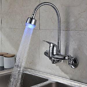 (EU Lager) Küchenarmatur LED Chrom Einhandmischer Wandmontage