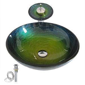 (EU Lager) Glas Waschbecken Rund Bunt mit Wasserfall Wasserhahn