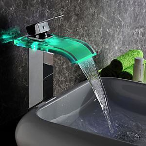 (EU Lager) LED Waschtischarmatur Bad Modern Wasserfall Glas Chrom(Tall)