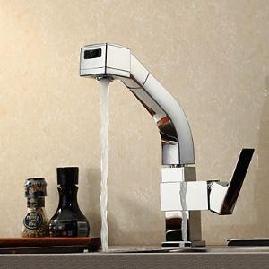 (EU Lager) Küchenarmatur Ausziehbar Modern Messing Chrom