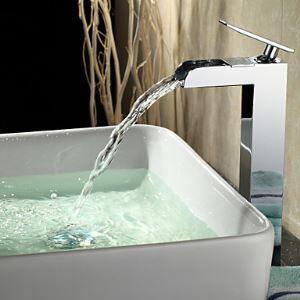 (EU Lager) Zeitgenössische Wasserfall Chrom Bad Waschtischarmatur (tall)