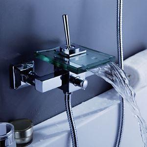 (EU Lager)Modern Badewannenarmatur Wasserhahn Wasserfall Glas Auslauf Wandmontage