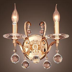 (EU Lager)Golden Kristall Wandleuchte mit 2 Leuchten