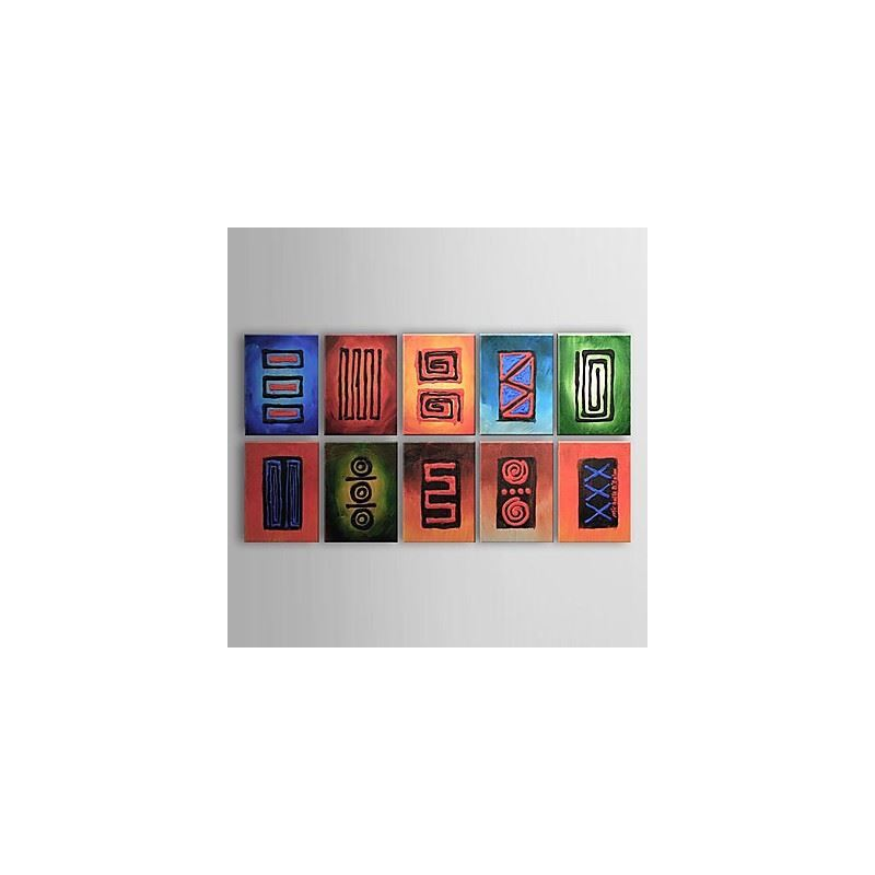 Handgemaltes abstraktes ?lgem?lde mit gestreckten Rahmen - 10er-Set