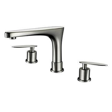 (EU Lager)Nickel Gebürsteten Oberfläche Messing Zeitgenössische Breite  Badezimmer Waschbecken Armaturen