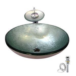 (EU Lager) Silber gehärtetes Glas Waschbecken mit Wasserfall Wasserhahn, Wasserablauf und Montage Ring