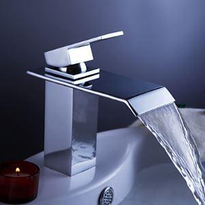 (EU Lager) Waschtischarmatur Modern Einhebel Wasserfall in Chrom