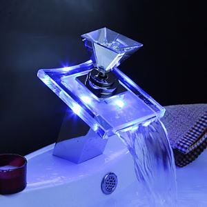 (EU Lager) Farbwechsel LED Wasserfall Badezimmer Waschbecken Armaturen (Glas-Griff)