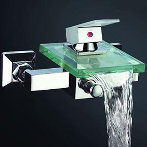 (EU Lager) Wasserfall Badewannenarmatur Wasserhahn mit Glas Auslauf Wandmontage