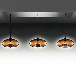 (EU Lager)3 flammige moderne Glas Pendelleuchte in braunem Blase-Form