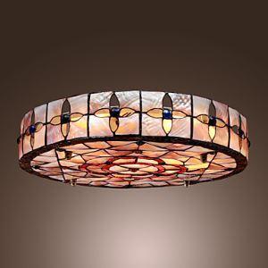 (EU Lager)Tiffany Stil Einbauleuchte mit 3 Lampen in Runde
