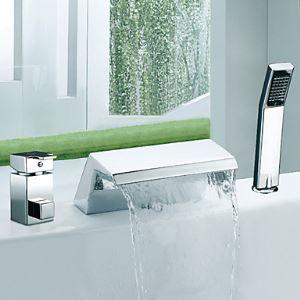 (EU Lager) Verchromt zeitgenössische Wasserfall Badewannenarmatur Wasserhahn