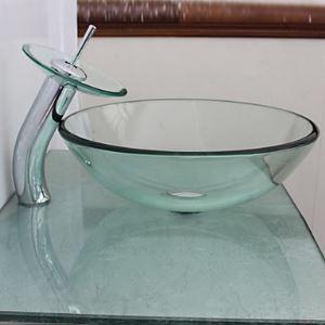 (EU Lager) Waschbecken Transparentes Glas mit Wasserfall Wasserhahn
