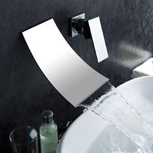 (EU Lager) Wasserfall weite zeitgenössische Badezimmer Waschtischarmatur (Kalt- und Warmwasser)