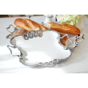 Europäische klassische künstlerische dekorative Keramik Fruit Tray-Silber