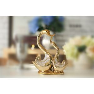 Zeitgenössische Galvanisiert Golden küssen Swan