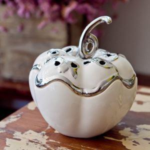 Zeitgenössische Galvanisiert weiß Keramik Kürbis Ornament