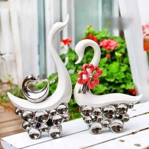 US-amerikanischer Landhausstil Galvanisiert Keramik Swan Set