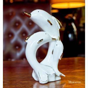 Zeitgenössische Galvanisiert Keramik Dolphin Ornament Set