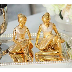 Zeitgenössische Galvanisiert Keramik Mädchen Ornament-Golden (verkauft Sperat)