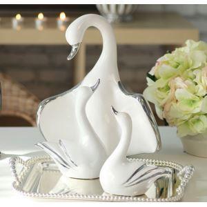 Zeitgenössische Galvanisiert Keramik Swan Familien Set