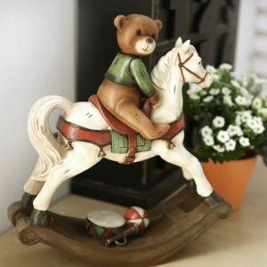 US-amerikanischer Landhausstil Rocking Pferd und Bär Polyester Ornament