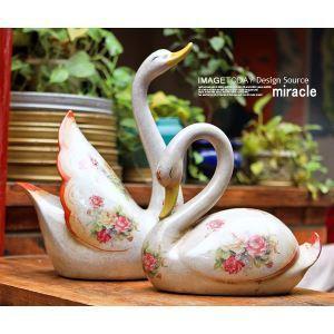 Französische Land Stil Vintage Keramik Swan Ornament