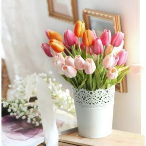 Tulpe Seidenblumen, Eisen Eimer Blumenschmuck