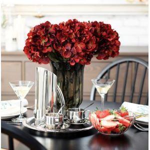Französische klassische Hortensien Seidenblumen, winzige Glas Vase(Grau) Blumenschmuck