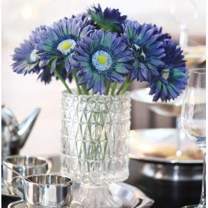 Gerbera Seidenblumen, kleine Kristall Vase