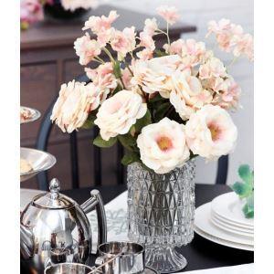 Rosa Seide Blumen, Kirschblüte, kleine Kristall Vase